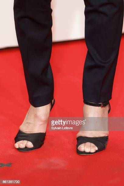 Michele Laroque shoe detial attends opening ceremony of 9th Film Festival Lumiere In Lyon on October 14 2017 in Lyon France