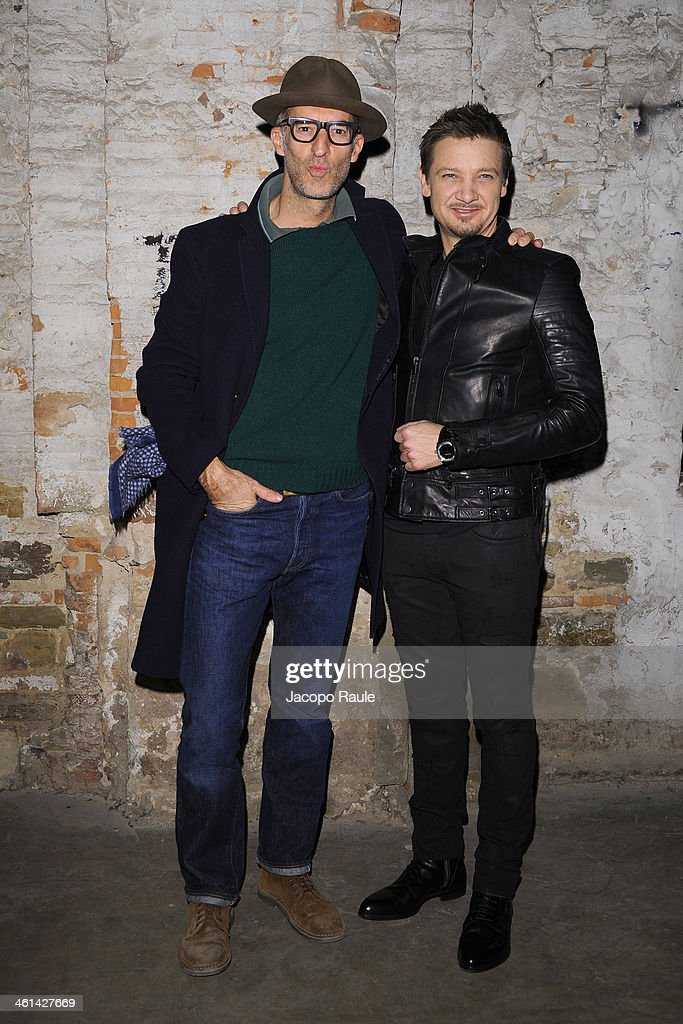 Michele Lupi and <a gi-track='captionPersonalityLinkClicked' href=/galleries/search?phrase=Jeremy+Renner&family=editorial&specificpeople=708701 ng-click='$event.stopPropagation()'>Jeremy Renner</a> attend Diesel Black Gold fashion show during Pitti Immagine Uomo 85 on January 8, 2014 in Florence, Italy.