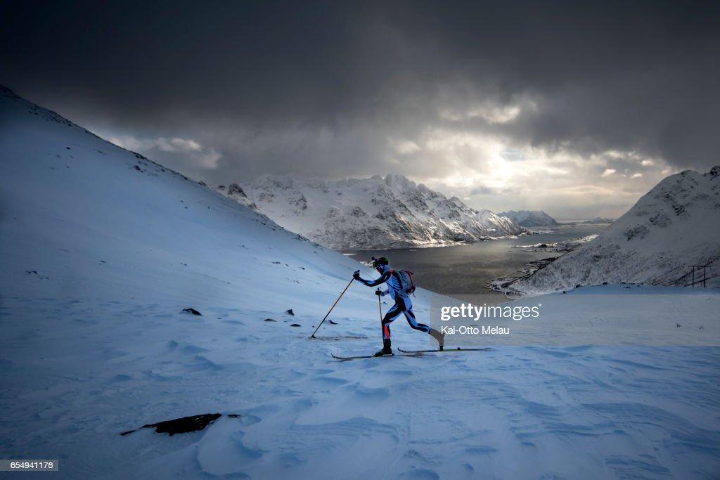 Michele Maccabelli at Lofoten Skimo on March 18, 2017 in Svolvar, Norway. The Arctic Triple - Lofoten Skimo is the first of three races. The others are Lofoten Ultra-Trail and Lofoten Triathlon