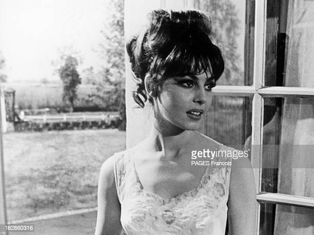 Michele Mercier In The Film 'The Second Truth' And 'Angelique' 6 janvier 1966 portrait de l'actrice Michèle MERCIER posant devant une fenêtre Coiffée...