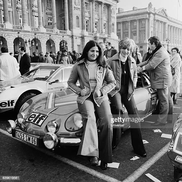 Michele Mouton and Francoise Conconi at the start of the 1976 MonteCarlo Rally