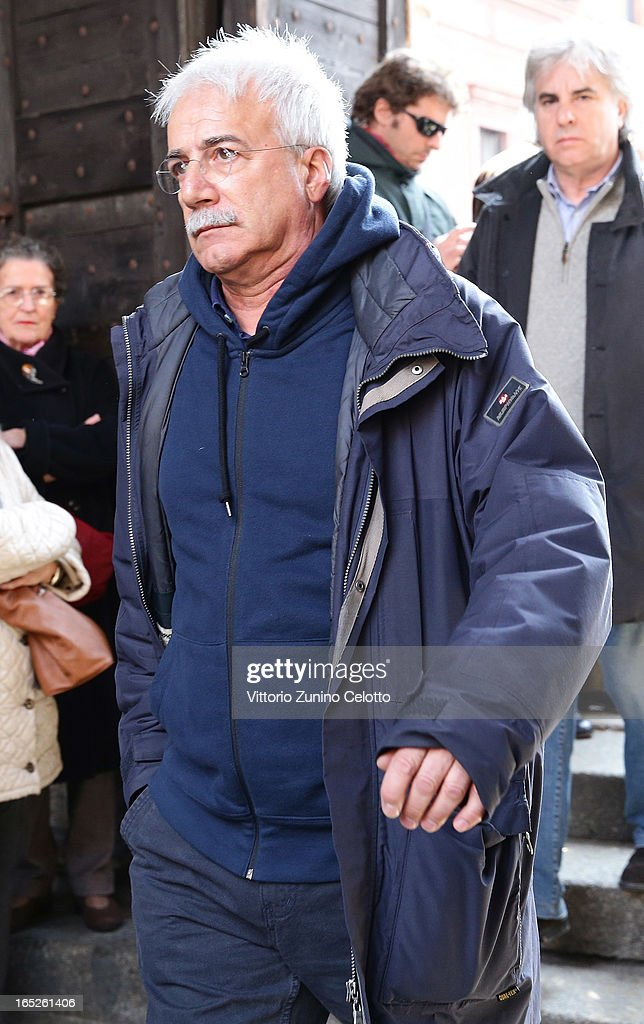 Michele Mozzati attends the funeral of Singer Enzo Jannacci at Basilica di Sant'Ambrogio on April 2, 2013 in Milan, Italy.