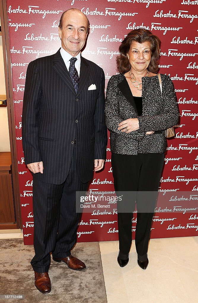 Michele Norsa (L) and Fulvia Visconti Ferragamo attend the launch of the Salvatore Ferragamo London Flagship Store on Old Bond Street on December 5, 2012 in London, England.