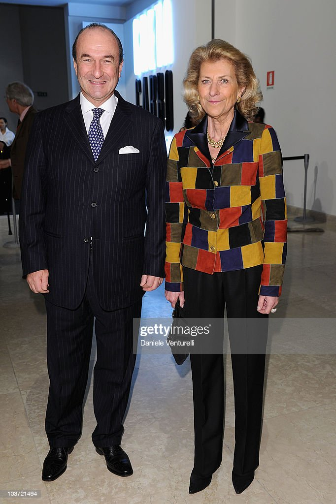 Michele Norsa and Giovanna Ferragamo attend the Salvatore Ferragamo 'Greta Garbo' exhibition at the Triennale Museum during Milan Fashion Week Womenswear A/W 2010 on February 27, 2010 in Milan, Italy.