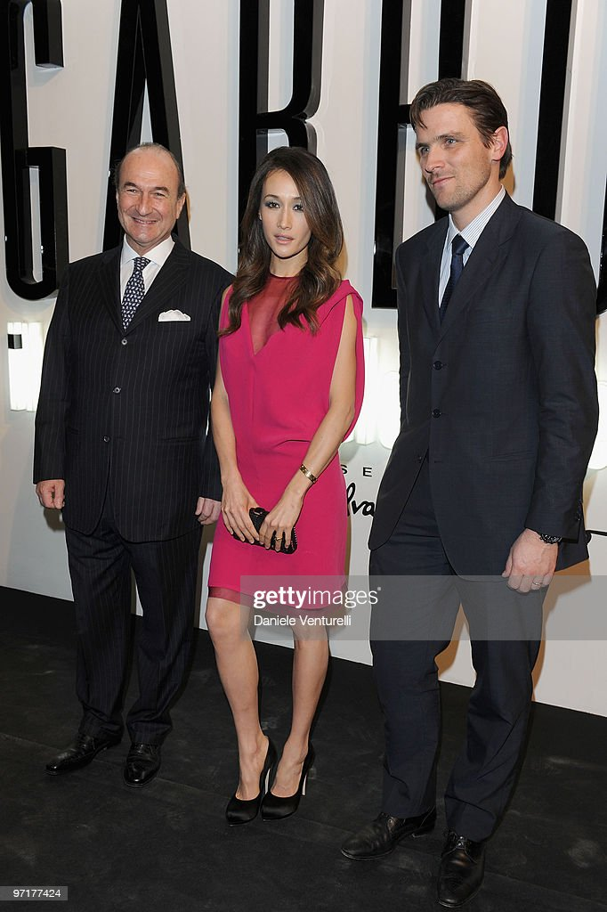 Michele Norsa, Maggie Q and James Ferragamo attend 'Greta Garbo. The Mystery Of Style' opening exhibition during Milan Fashion Week Womenswear A/W 2010 on February 27, 2010 in Milan, Italy.
