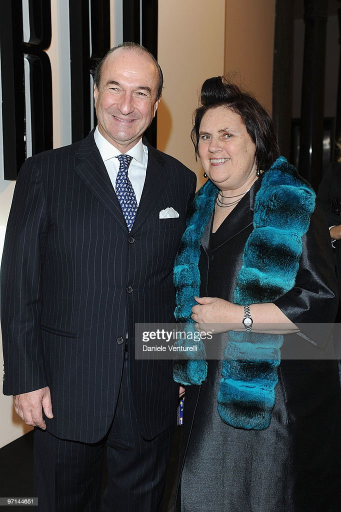 Michele Norsa, Salvatore Ferragamo CEO, and International Herald Tribune fashion editor Susy Menkes attend 'Greta Garbo. The Mystery Of Style' opening exhibition during Milan Fashion Week Womenswear A/W 2010 on February 27, 2010 in Milan, Italy.