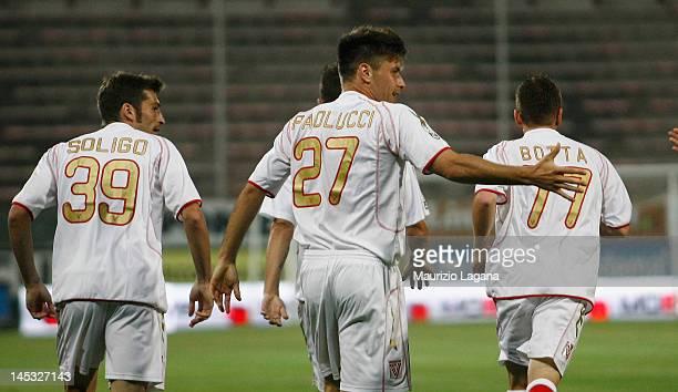 Michele Paolucci of Vicenza celebrates the opening goal during the Serie B match between Reggina Calcio and Vicenza Calcio at Stadio Oreste Granillo...