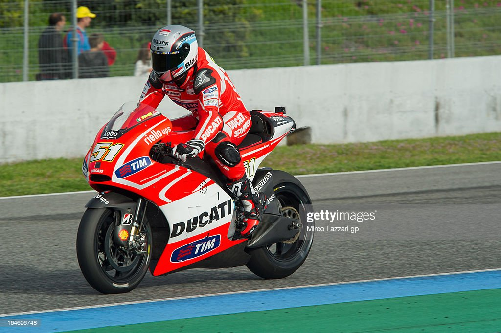 Michele Pirro of Italy and Ducati Test Team heads down a straight during the MotoGP Tests In Jerez - Day 4 at Circuito de Jerez on March 25, 2013 in Jerez de la Frontera, Spain.