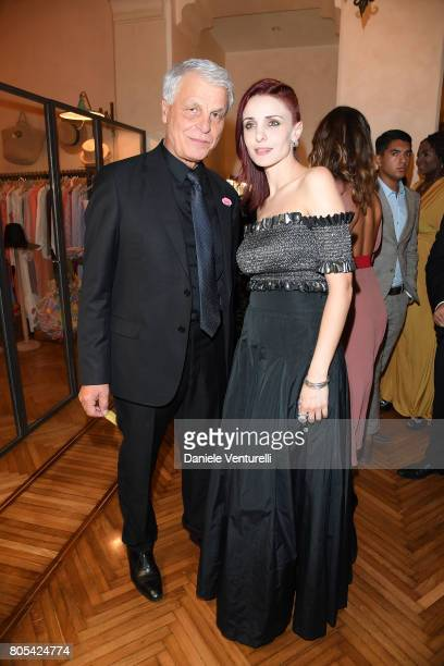 Michele Placido and Federica Vincenti attend Nastri D'Argento 2017 Awards Ceremony on July 1 2017 in Taormina Italy
