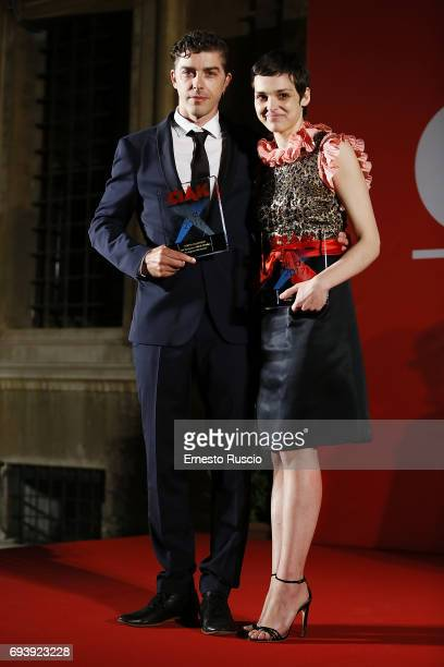 Michele Riondino and Sara Serraiocco receive the Ciak D'Oro 2017 award at Link Campus University on June 8 2017 in Rome Italy