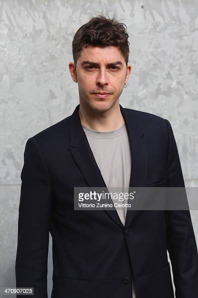 Michele Riondino attends the Emporio Armani show as part of Milan Fashion Week Womenswear Autumn/Winter 2014 on February 21 2014 in Milan Italy