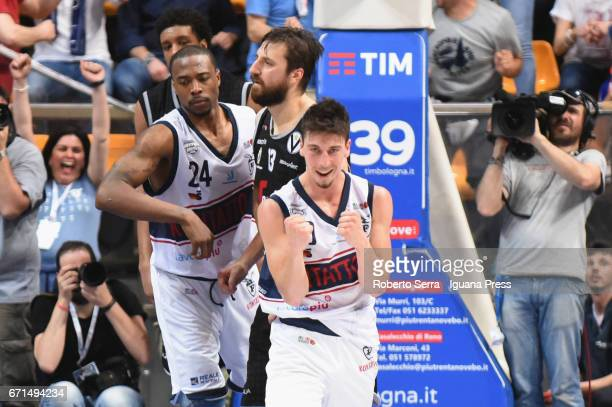 Michele Ruzzier of Kontatto celebrates during the LegaBasket LNP of serie A2 match between Fortitudo Kontatto Bologna and Virtus Segafredo Bologna at...