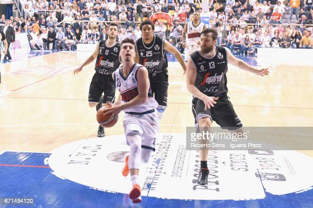 Michele Ruzzier of Kontatto competes with Marco Spissu Kenny Lawson Klaudio Ndoja of Segafredo during the LegaBasket LNP of serie A2 match between...