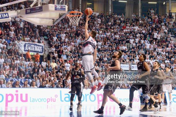 Michele Ruzzier of Kontatto competes with Michael Umeh Klaudio Ndoja Kenny Lawson Marco Spissu of Segafredo during the LegaBasket LNP of serie A2...