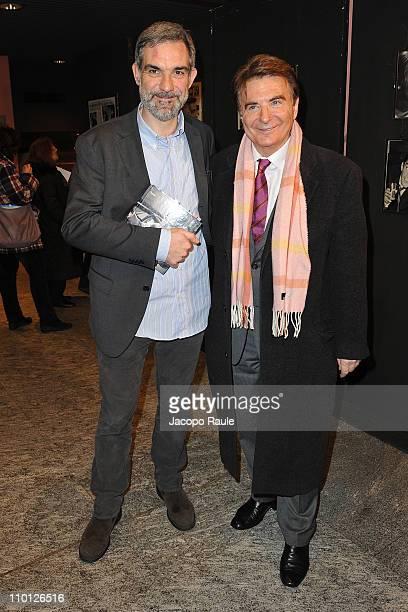 Michele Sancisi and Paolo Limiti attend 'Walter Chiari Un Animale Da Palcoscenico' book presentation on March 15 2011 in Milan Italy