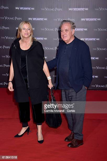 Michele Santoro and Sanja Podgajski walk the red carpet at 'The Young Pope' premiere on October 9 2016 in Rome Italy