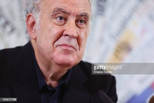 Michele Santoro attends the 'Servizio Pubblico' press conference of his new TV Show on October 22 2012 in Rome Italy
