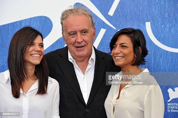 Michele Santoro Micaela Farrocco and Maddalena Oliva attend a photocall for 'Robinu' during the 73rd Venice Film Festival at Palazzo del Casino on...