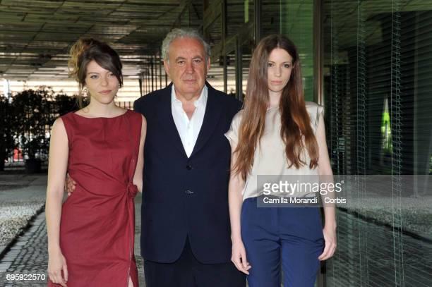 Michele Santoro Veridiana Costanzo Sara Rosati attend 'M' Press Conference on June 14 2017 in Rome Italy
