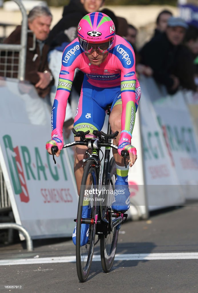 Michele Scarponi of Italy and Team Lampre-Merida rides during the prologue of 2.9 km of the 2013 Paris-Nice on March 3, 2013 in Houilles, Yvelines, France.