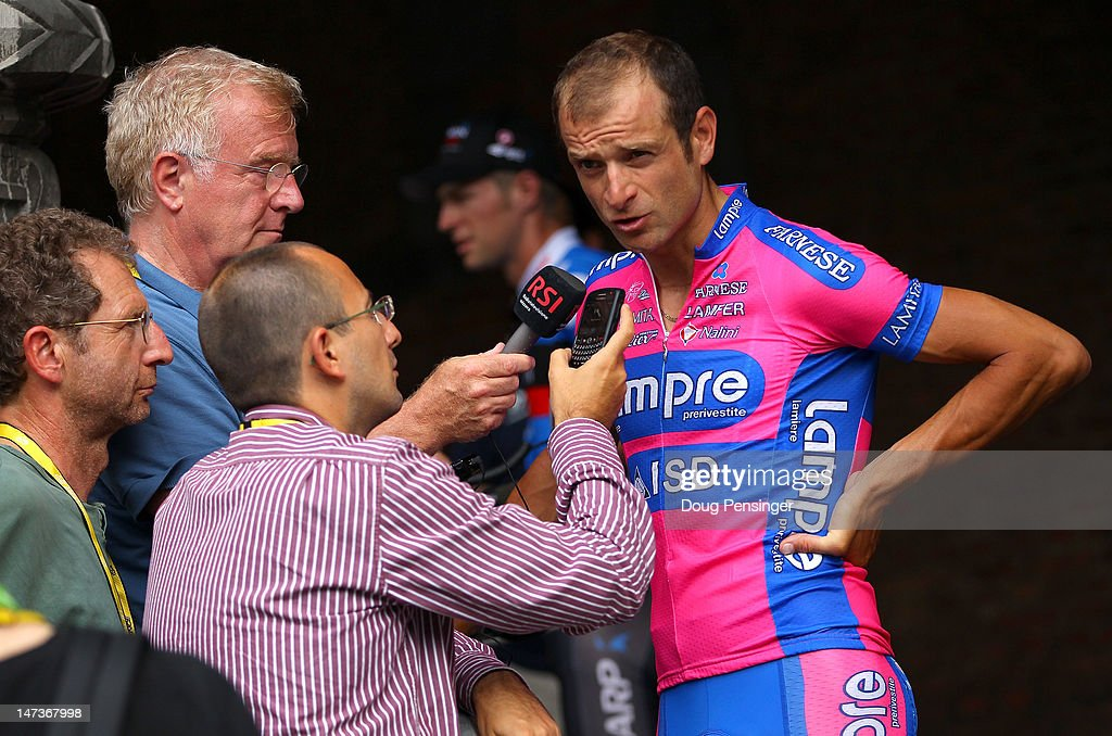 Michele Scarponi of Italy riding for Lampre-ISD talk tot he media after team presentation prior to the 2012 Tour de France on June 28, 2012 in Liege, Belgium.
