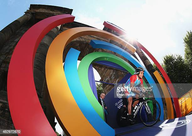 Michele Smith of Cayman Islands leaves the starting gate during the Men's Cycling Road Time Trial at during day eight of the Glasgow 2014...