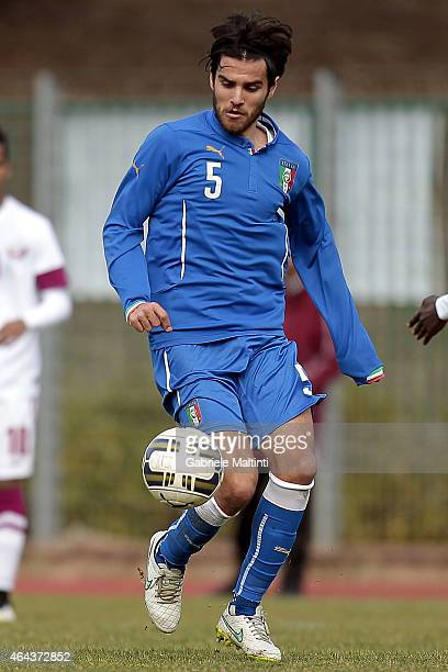 Michele Somma of Italy U20 in action during the international friendly match between Italy U20 and Qatar U20 on February 25 2015 in Montelupo...
