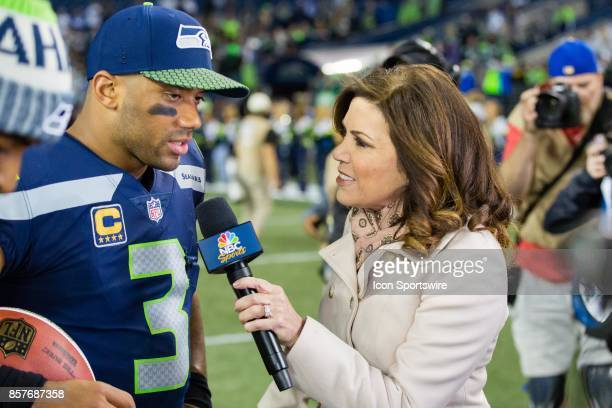 Michele Tafoya of NBC interviews Seattle Seahawks quarterback Russell Wilson after a game between the Seattle Seahawks and the Indianapolis Colts on...