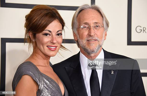 Michele Tebbe and President of the National Academy of Recording Arts and Sciences Neil Portnow attends The 57th Annual GRAMMY Awards at the STAPLES...