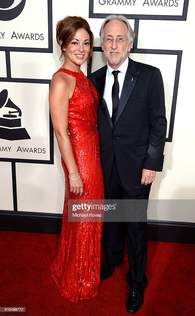 Michele Tebbe and President of the National Academy of Recording Arts and Sciences Neil Portnow attend The 58th GRAMMY Awards at Staples Center on...