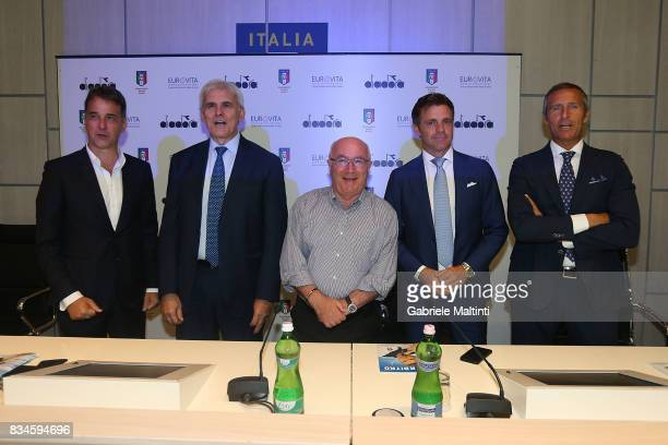 Michele Uva general manager of FIGC Marcello Nicchi president of AIA Carlo Tavecchio president of FIGC Nicola Rizzoli and Emidio Morganti of AIA at...
