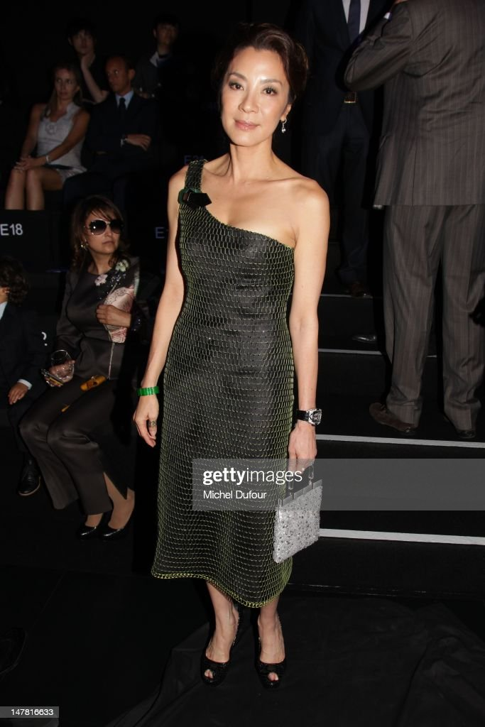 Michele Yeoh attends the Giorgio Armani Prive Haute-Couture Show as part of Paris Fashion Week Fall / Winter 2012/13 at Palais de Chaillot on July 3, 2012 in Paris, France.