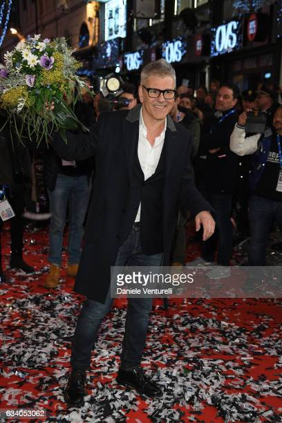 Michele Zarrillo walks a red carpet for the 67 Sanremo Festival at Teatro Ariston on February 6 2017 in Sanremo Italy