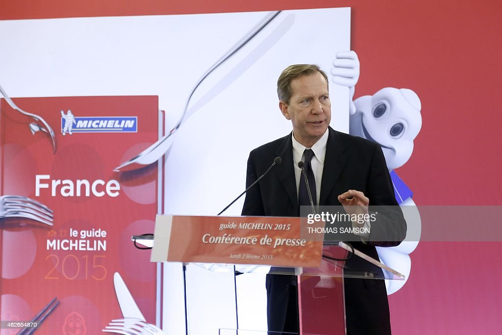Michelin Guides international director <a gi-track='captionPersonalityLinkClicked' href=/galleries/search?phrase=Michael+Ellis&family=editorial&specificpeople=214128 ng-click='$event.stopPropagation()'>Michael Ellis</a> speaks on February 2, 2015 during the launch of the 2015 Michelin Guide at the French Foreign Ministry in Paris. AFP PHOTO / THOMAS SAMSON