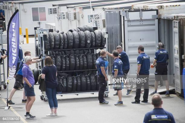 Michelin staff at work in paddock during 2017 MotoGP preseason testing at Phillip Island Grand Prix Circuit on February 17 2017 in Phillip Island...