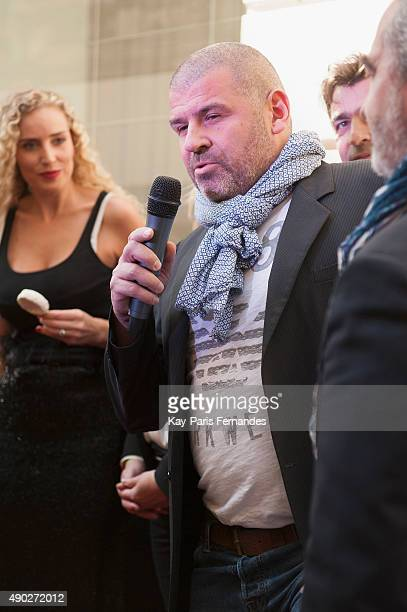 Michelin star chef Philippe Etchebest speaks at the presentation during the 'Fromage Fashion Week Menu' on September 27 2015 in Paris France