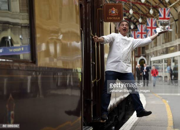 Michelin starred chef Raymond Blanc attends a photocall beside the British Pullman sister train to the Venice SimplonOrientExpress at London Victoria...