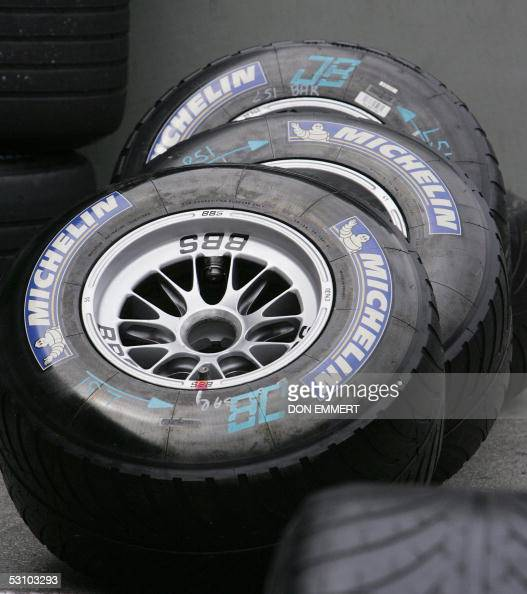 Michelin tires sit in the pit area waiting to be put away during the US Grand Prix at the Indianapolis Motor Speedway 19 June 2005 None of the F1...