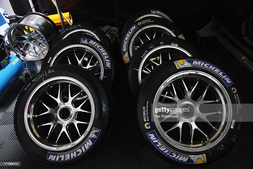 Michelin tyres are stacked in the paddock during previews for the Le Mans 24 Hour race at the Circuit de la Sarthe on June 21, 2013 in Le Mans, France.