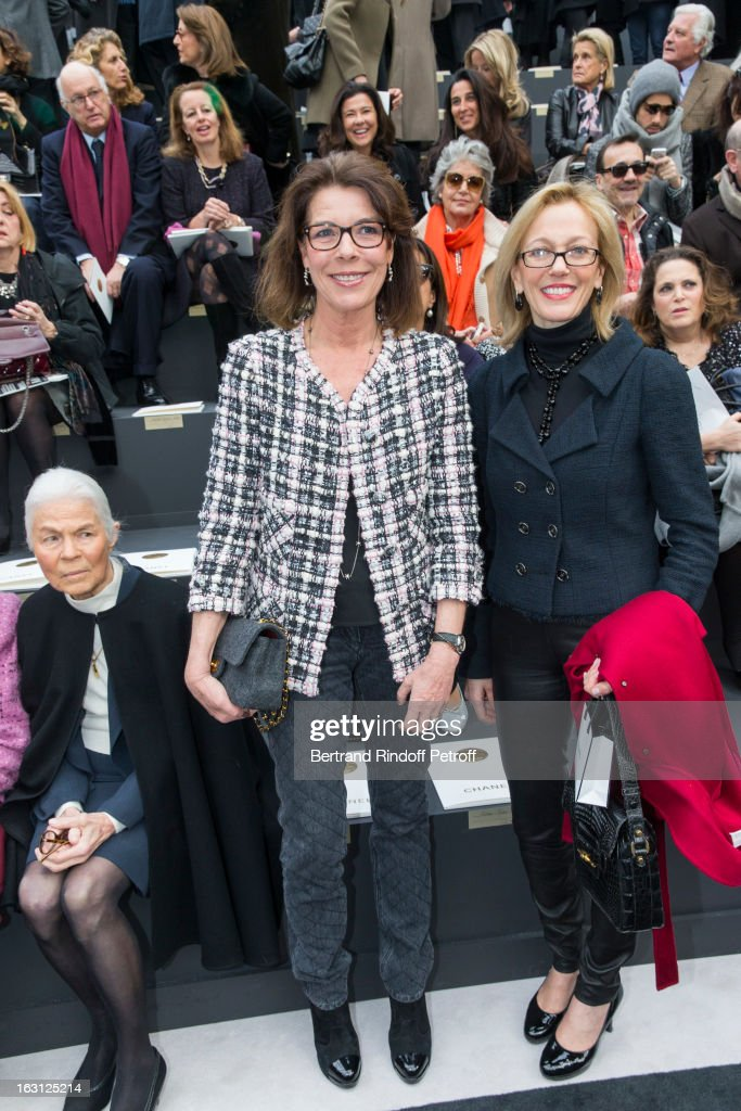 Micheline Chaban Delmas, Princess Caroline of Hanover and Susan M. Tolson attend the Chanel Fall/Winter 2013 Ready-to-Wear show as part of Paris Fashion Week at Grand Palais on March 5, 2013 in Paris, France.
