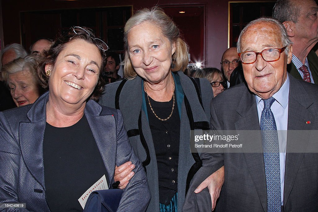 Micheline Decaux, Academician Florence Delay and <a gi-track='captionPersonalityLinkClicked' href=/galleries/search?phrase=Alain+Decaux&family=editorial&specificpeople=548611 ng-click='$event.stopPropagation()'>Alain Decaux</a> attend 'La Conversation' By Jean D'Ormesson at Theatre Hebertot on October 16, 2012 in Paris, France.