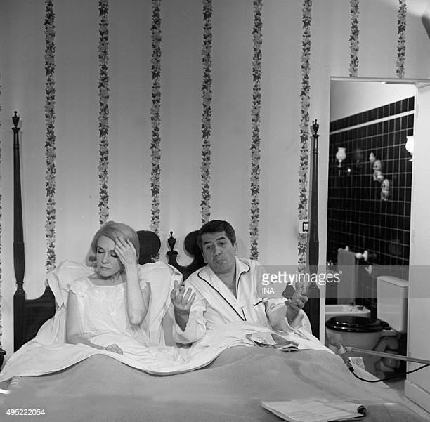 Micheline Presle and Daniel Gélin in a scene of the television series 'the Holy darlings' realized by Jean Becker and Maurice Delbez