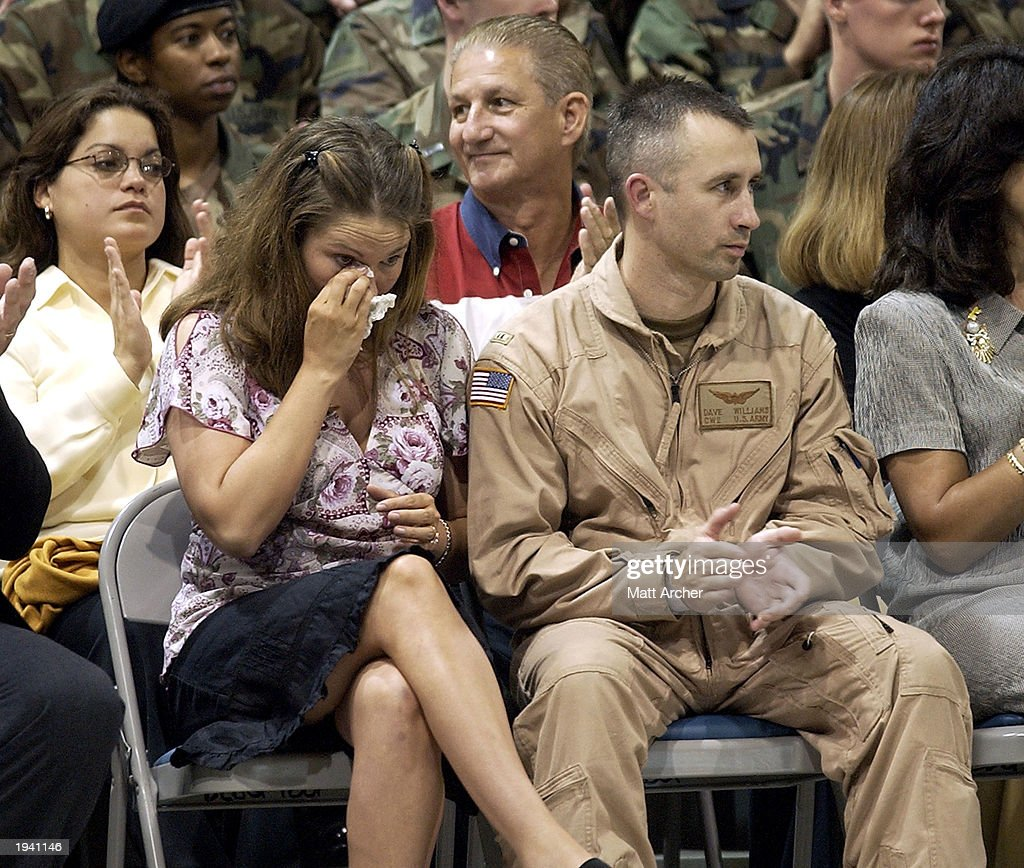 Michell Williams, wife of former POW David Williams, cries after the two were reunited during a welcome home ceremony for the two First Cavarly Division soldiers formelry held as prisoners of war by Iraqi forces on April 19, 2003 in Fort Hood, Texas.
