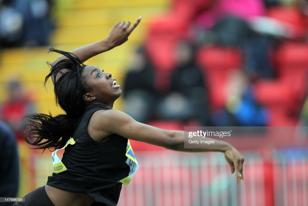 Michella Obijiaku competes in the Junior Girls Shot Final during day one of the Aviva English Schools Track and Field Championships at the Gateshead International Stadium on July 6, 2012 in Gateshead, England. Search Aviva Athletics on Facebook to Back The Team.