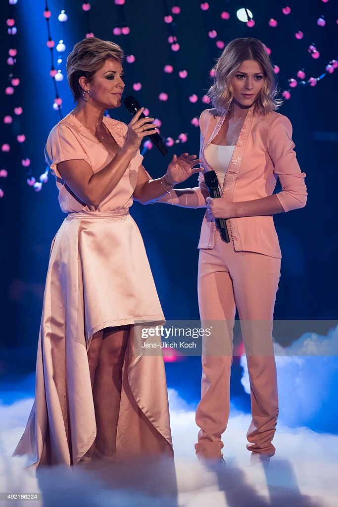 Michelle and her daughter Marie perform during the tv show '150 Jahre Schlager Das Grosse Fest Zum Jubilaeum' at Messe Erfurt on October 10 2015 in...