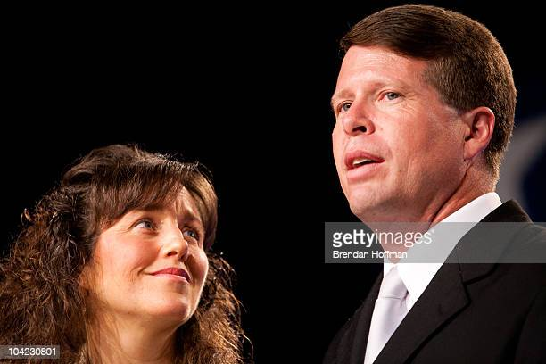 Michelle and Jim Bob Duggar of The Learning Channel TV show '19 Kids and Counting' speak at the Values Voter Summit on September 17 2010 in...