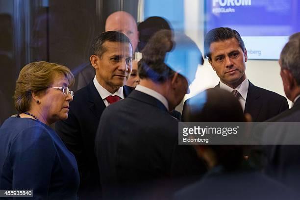 Michelle Bachelet Chile's president left Ollanta Humala Peru's president second left and Enrique Pena Nieto Mexico's president speak before the...