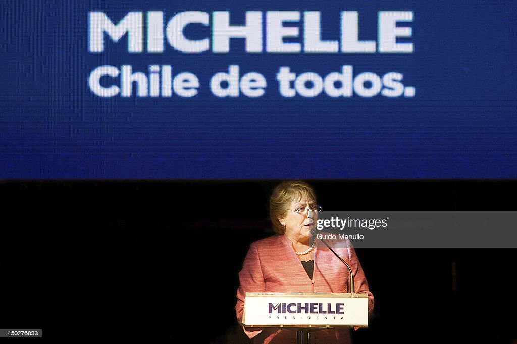 <a gi-track='captionPersonalityLinkClicked' href=/galleries/search?phrase=Michelle+Bachelet&family=editorial&specificpeople=547978 ng-click='$event.stopPropagation()'>Michelle Bachelet</a> during her speech after the results of the first round of elections for the presidency of Chile on November 17, 2013 in Santiago, Chile.