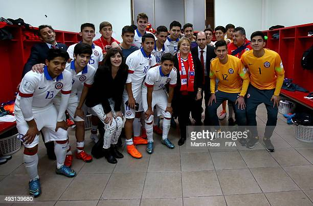 Michelle Bachelet president of Chile speks to the team of Chile after the FIFA U17 Men's World Cup 2015 group A match between Chile and Croatia at...