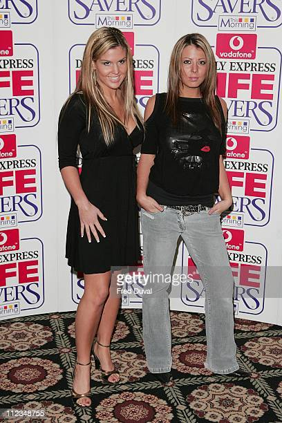 Michelle Bass and Emma Greenwood during 2005 Vodafone Life Savers Awards at The Savoy River Room in London Great Britain